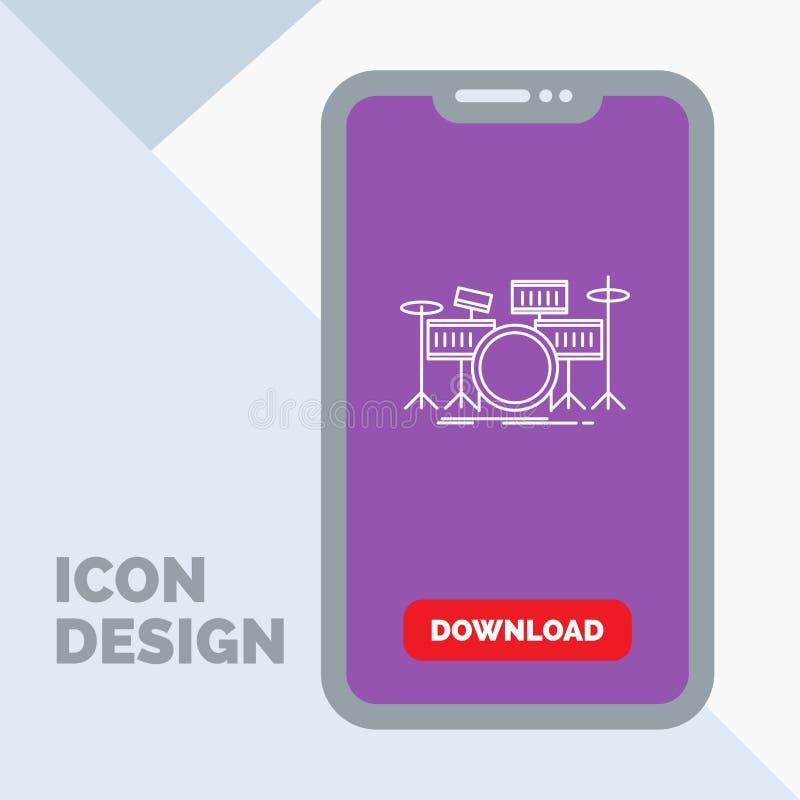 tamburo, tamburi, strumento, corredo, linea musicale icona in cellulare per la pagina di download illustrazione vettoriale