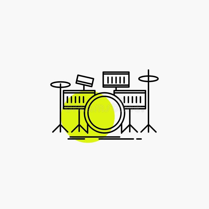 tamburo, tamburi, strumento, corredo, linea musicale icona illustrazione di stock