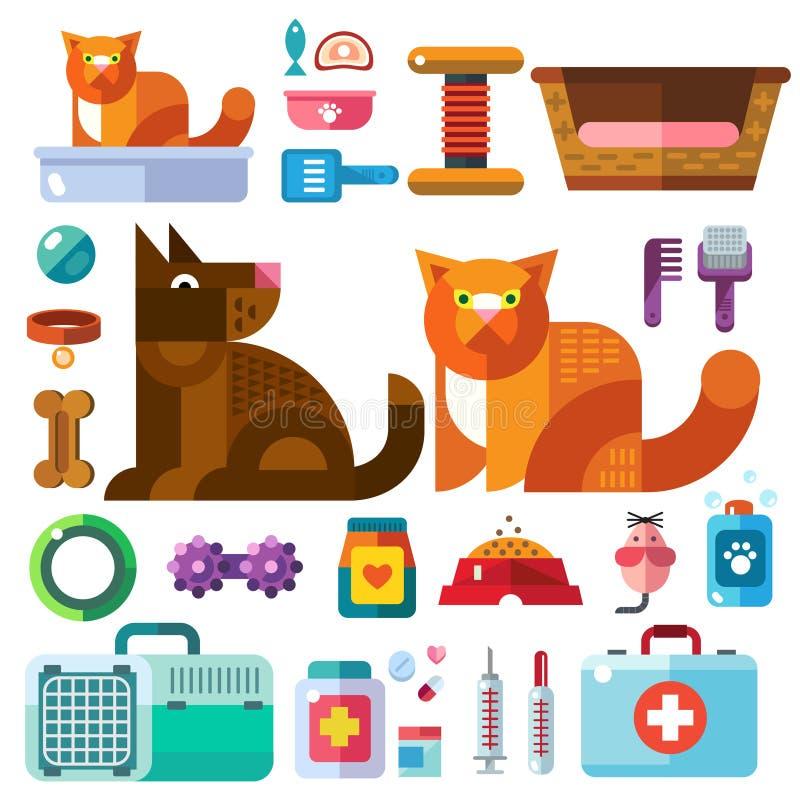 Tamdjur med deras leksaker royaltyfri illustrationer