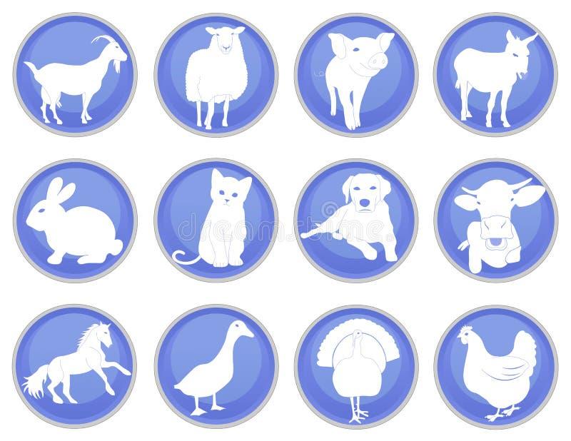 Tamdjursymbolsuppsättning 1 stock illustrationer