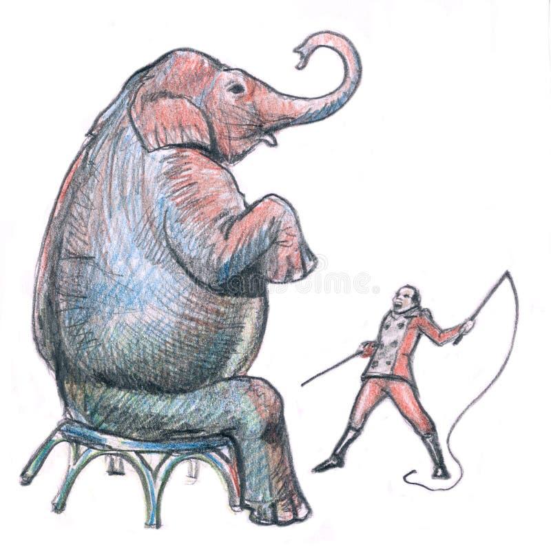 tamer слона сумашедшее иллюстрация штока