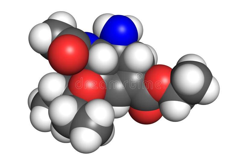Tamiflu molekuła royalty ilustracja