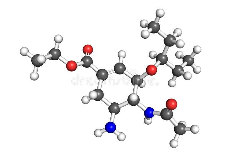 Tamiflu molekuła ilustracja wektor