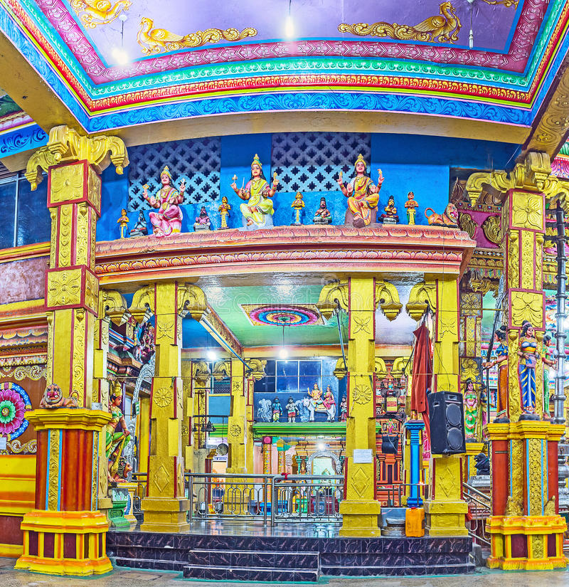 Tamil Hindu Temple in Matale. MATALE, SRI LANKA - NOVEMBER 27, 2016: The Muthumariamman Kovil - Tamil Hindu Temple is the perfect example of the medieval art and royalty free stock image