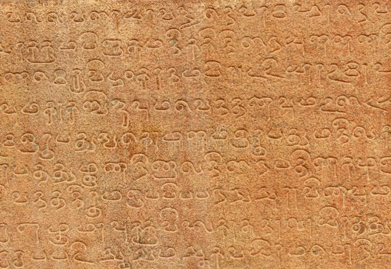 Tamil and Sanskrit inscriptions from the 11th century. royalty free stock photos