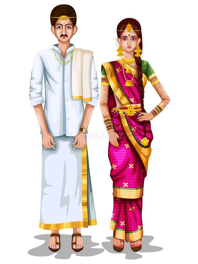 Tamilhochzeitspaare im traditionellen Kostüm des Tamil Nadu, Indien stock abbildung