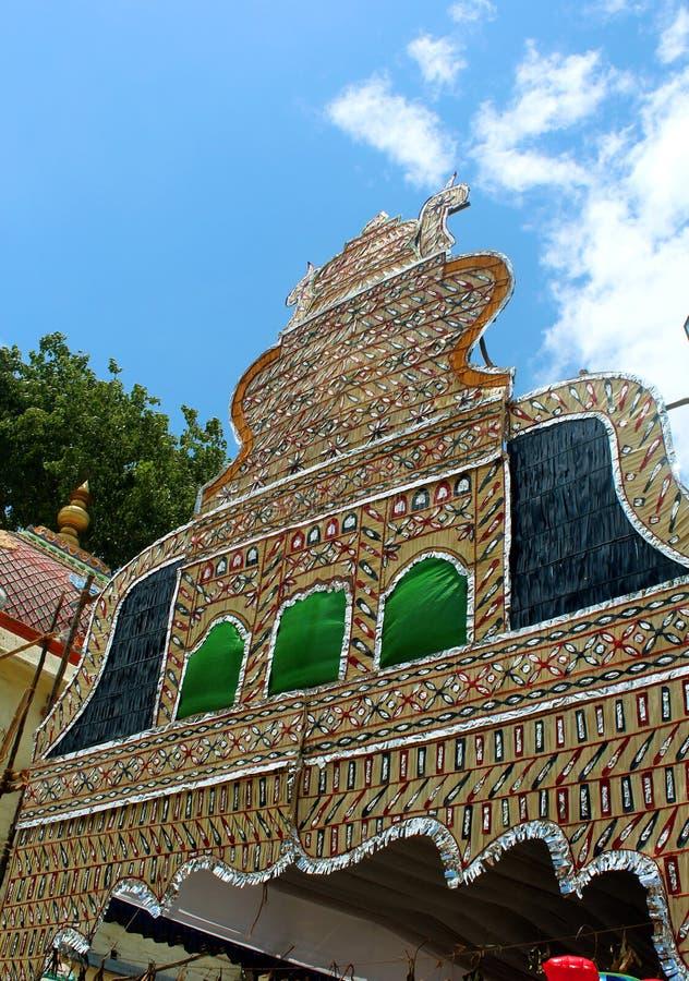 tamilnadu,印度的美丽的棕榈叶节日装饰品 免版税库存图片