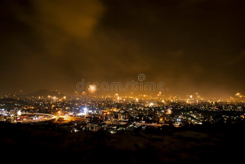 Tamilnadu di notte di Diwali fotografia stock