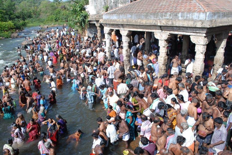 Tamilnadu india do papanasam do festival do amaavaasai de Aadi foto de stock royalty free
