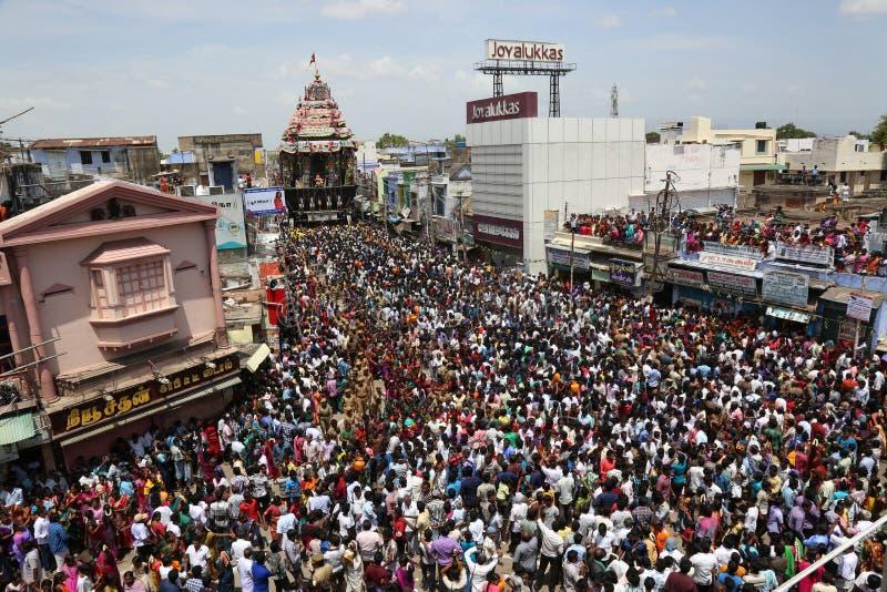 Tamilnadu Indien för tirunelveli för festival för Nellaiappar tempelbil royaltyfri bild