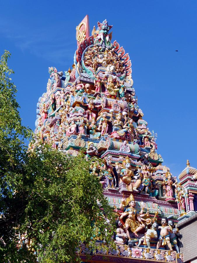 Tamiltempel Sri Veeramakaliamman i Singapore arkivbilder