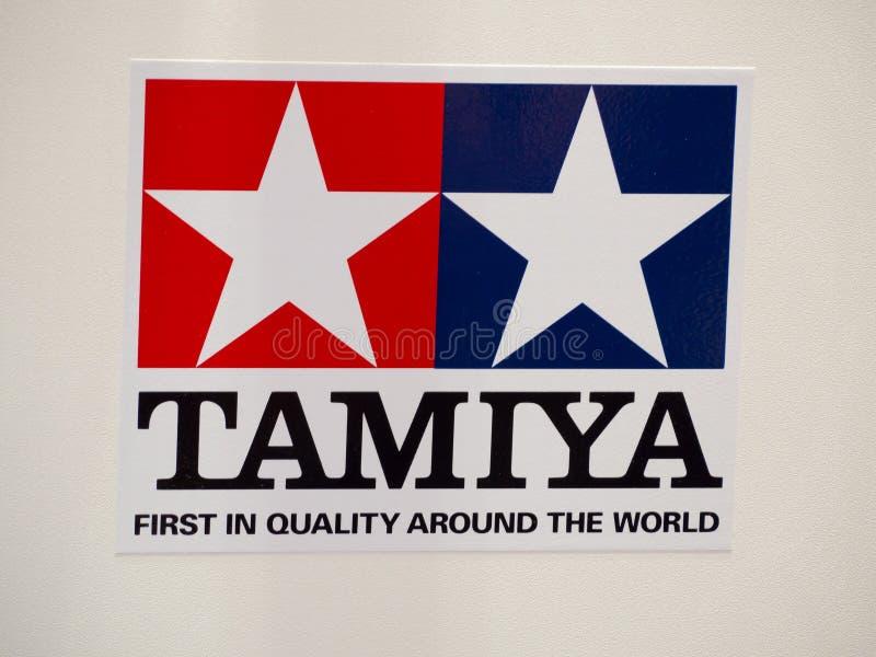 Tamiya Incorporated is een Japanse fabrikant van plastic modeluitrustingen, radio gecontroleerde auto's die embleem brandmerken stock fotografie