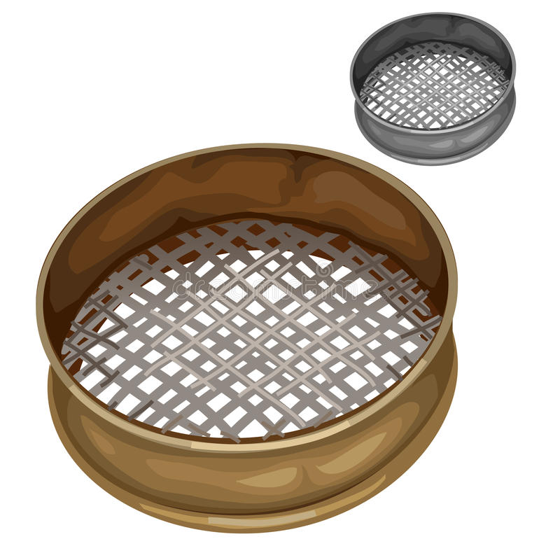 Tamiz para tamizar la harina y otras sustancias secas stock de ilustración