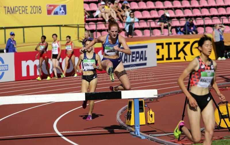 TAMMERFORS FINLAND, Juli 10: ALICE KULLE från USA på den 3000m HINDERLÖPNINGEN på mästerskapet Tammerfors, Finland 10 Juli, 2018  royaltyfria bilder