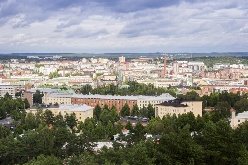 Tammerfors panorama, Hame region, Finland royaltyfria foton