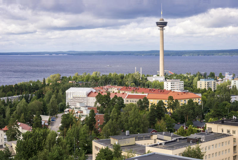 Tammerfors panorama, Hame region, Finland royaltyfria bilder