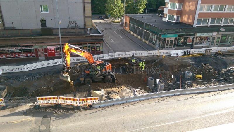 Tammerfors tramline under konstruktion arkivbild