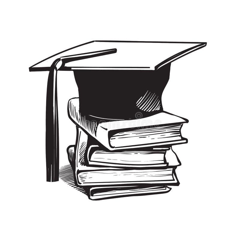 Tampão acadêmico da graduação na pilha de livros ilustração stock
