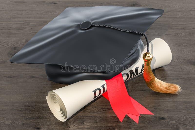 Tampão acadêmico quadrado, tampão da graduação e rolo do diploma, rende 3D ilustração royalty free