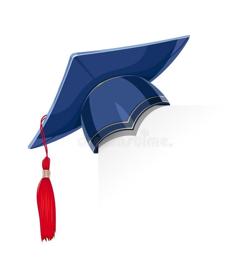 Tampão academicic azul da graduação no canto de papel ilustração stock
