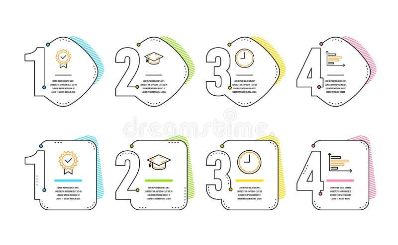Tampão da graduação, de ícones do tempo e do certificado grupo Sinal horizontal da carta Vetor ilustração do vetor