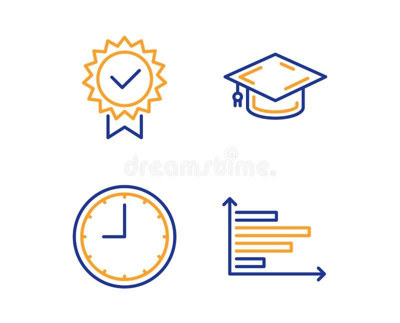 Tampão da graduação, de ícones do tempo e do certificado grupo Sinal horizontal da carta Vetor ilustração stock