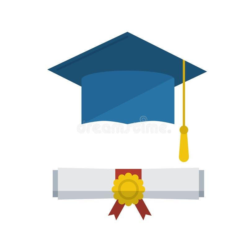 Tampão da graduação e ícone rolado diploma do rolo ilustração do vetor