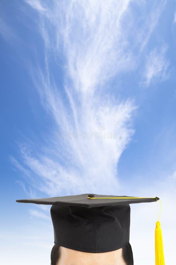 Tampão da graduação e conceito de pensamento fotos de stock royalty free