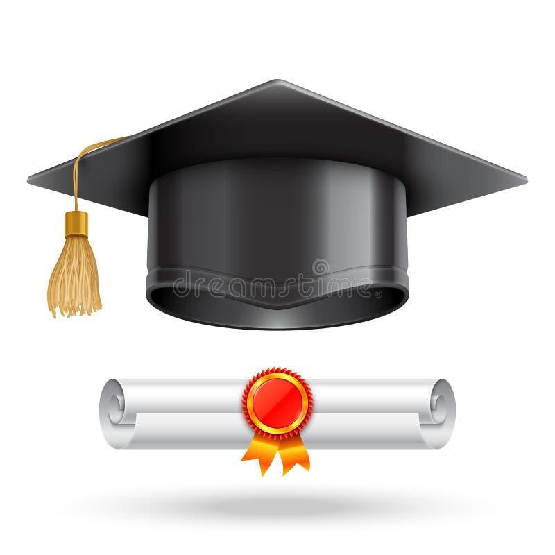 Tampão da graduação e rolo do diploma ilustração stock