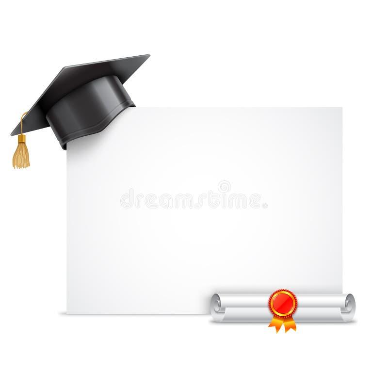 Tampão da graduação e rolo do diploma ilustração do vetor