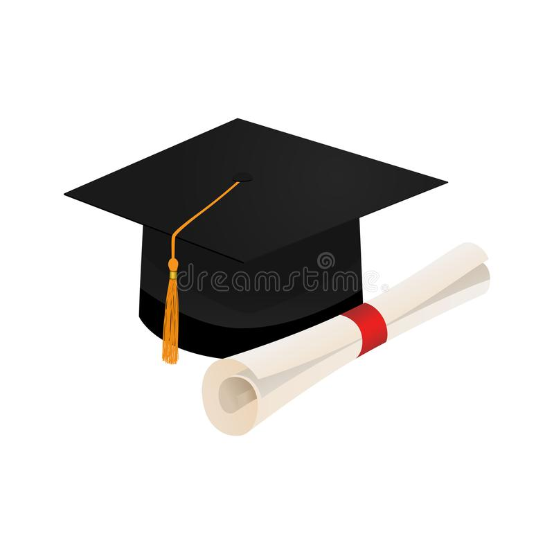 Tampão da graduação e rolo do diploma isolado ilustração royalty free