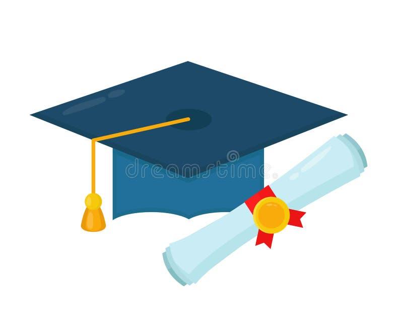 Tampão da graduação e rolo rolado diploma ilustração stock