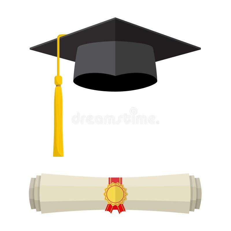 Tampão da graduação e rolo rolado do diploma ilustração do vetor