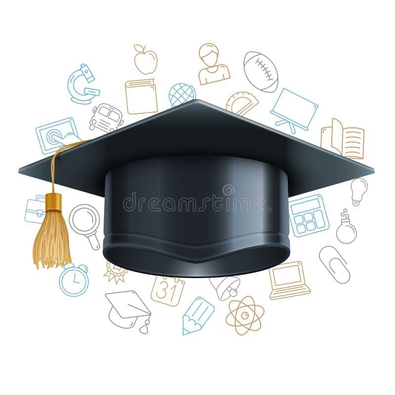 Tampão da graduação e símbolos da educação ilustração royalty free
