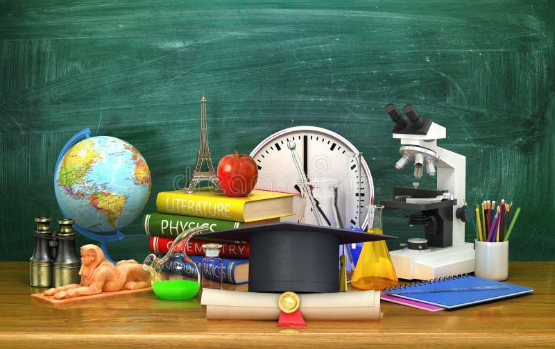 Tampão da graduação, fontes de escola e um diploma, encontrando-se em uma tabela de madeira no fundo da administração da escola ilustração royalty free
