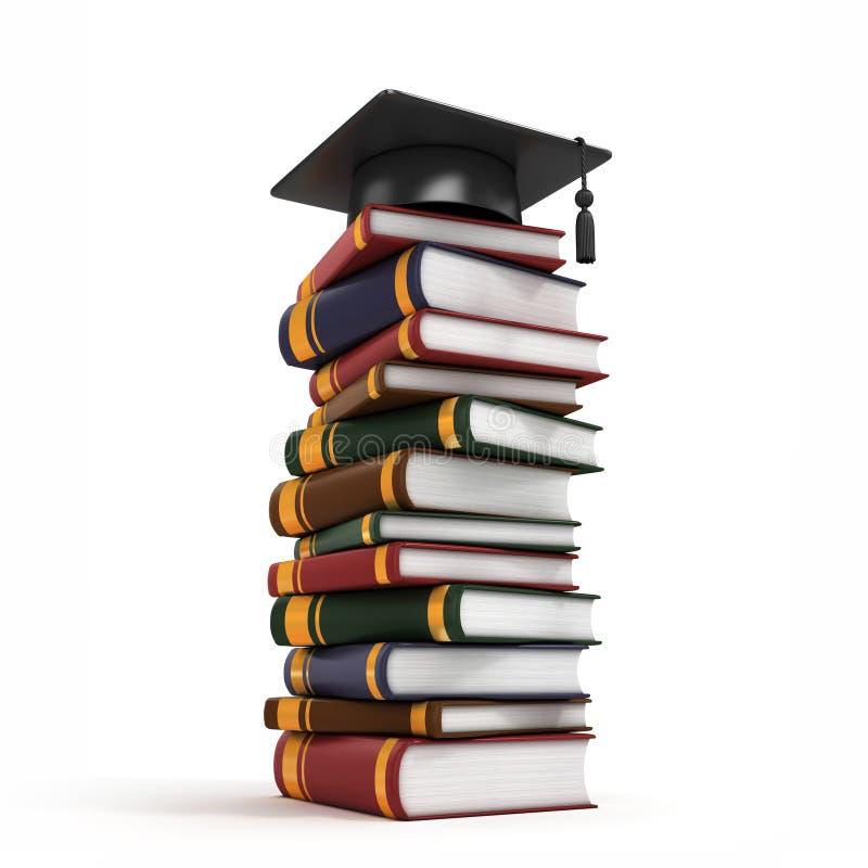 Tampão da graduação na pilha de livro 3d ilustração stock