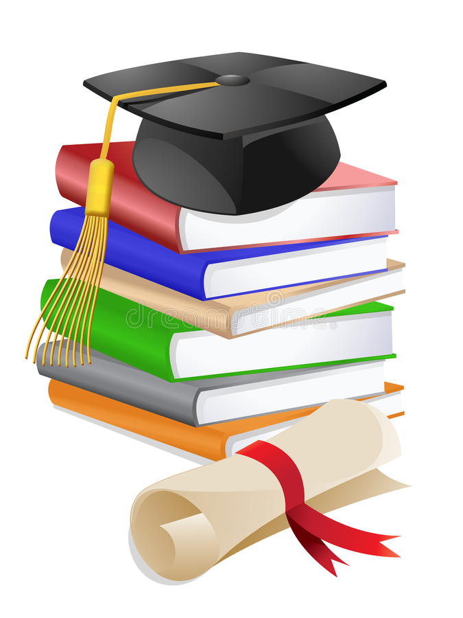 Tampão da graduação na pilha de livros ilustração royalty free