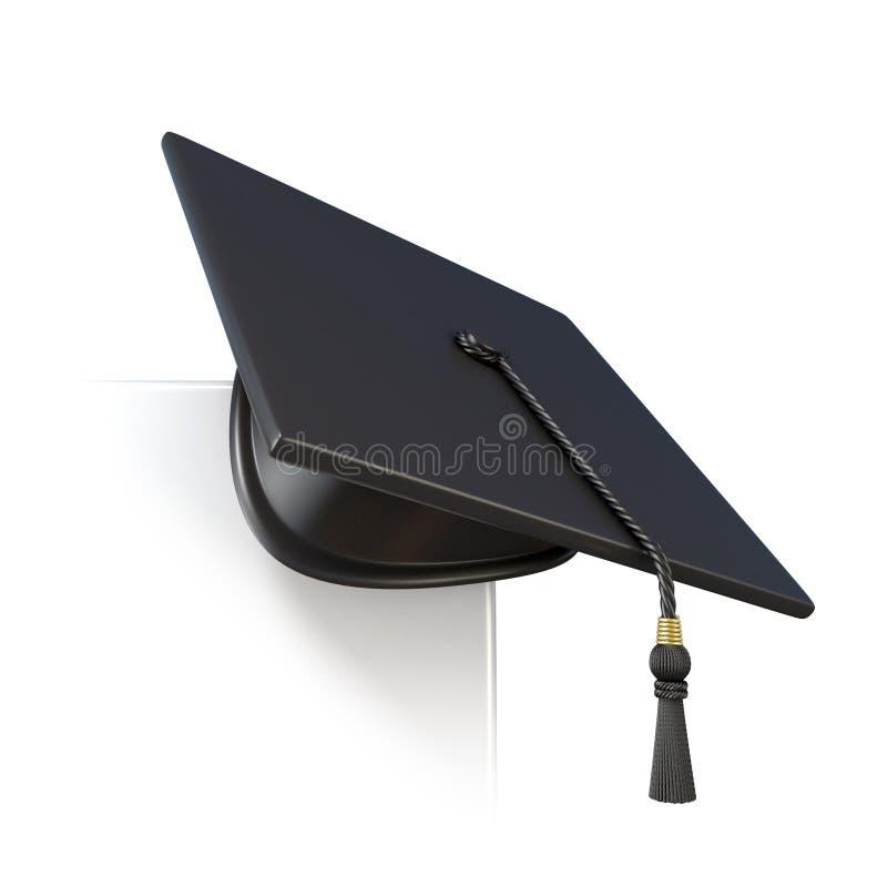 Tampão da graduação no canto do papel vazio 3d rendem ilustração stock