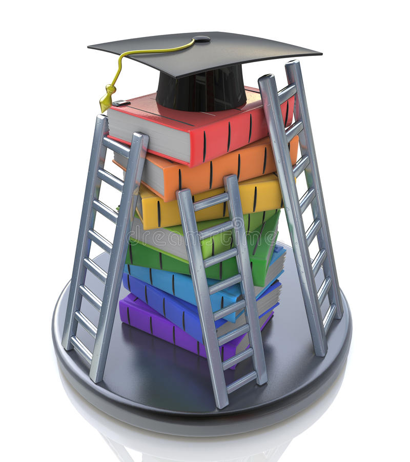 Tampão da graduação no parte superior de pilha dos livros com escadas - livros ilustração royalty free