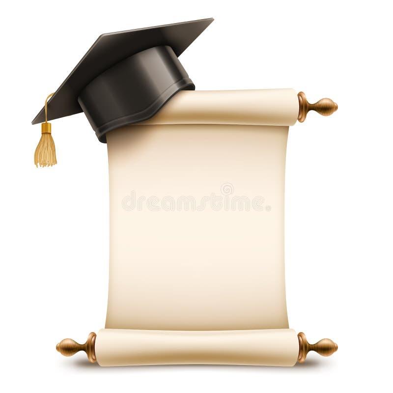 Tampão da graduação no rolo do diploma ilustração stock