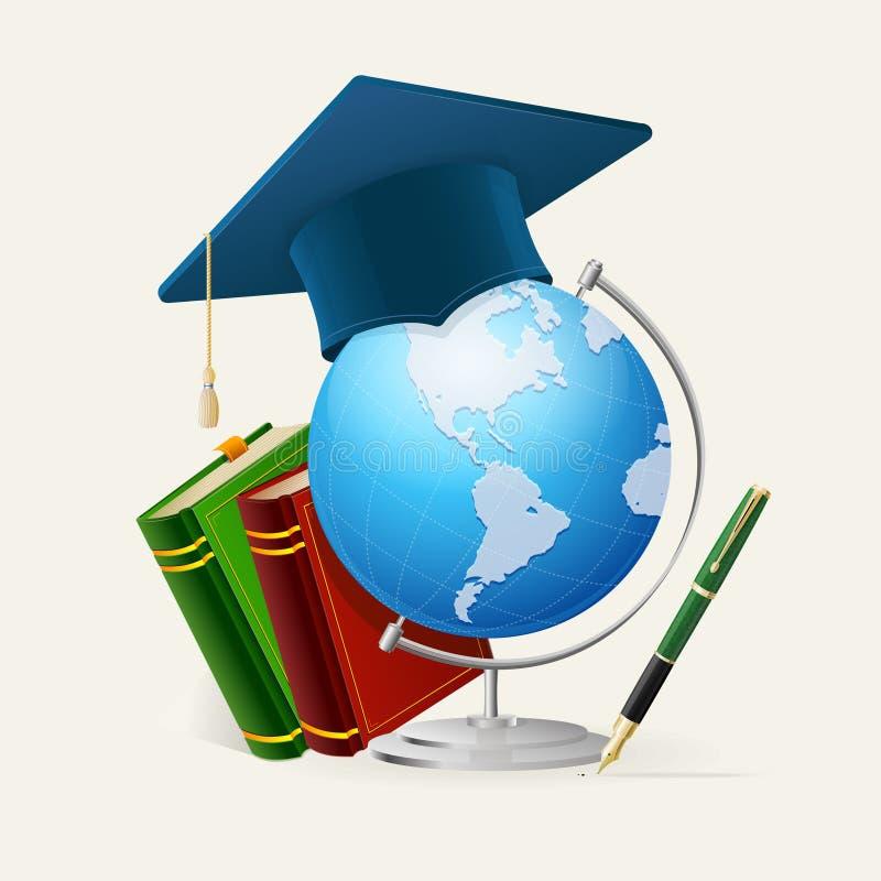 Tampão da graduação, pilha de livros, globo, e pena ilustração royalty free