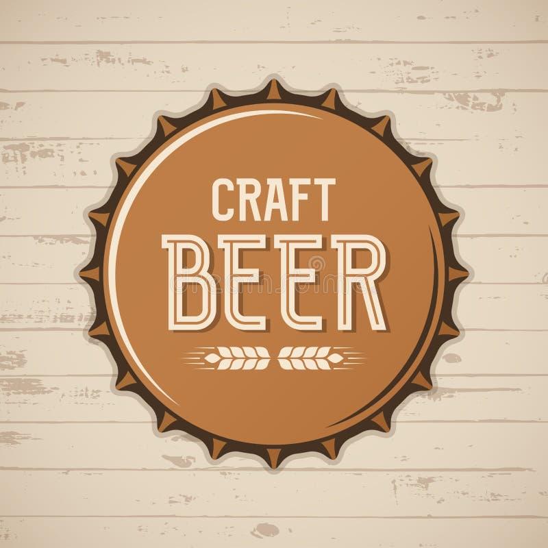 Tampão de garrafa da cerveja do ofício Logotipo da cervejaria do vetor, emblema, crachá ilustração stock