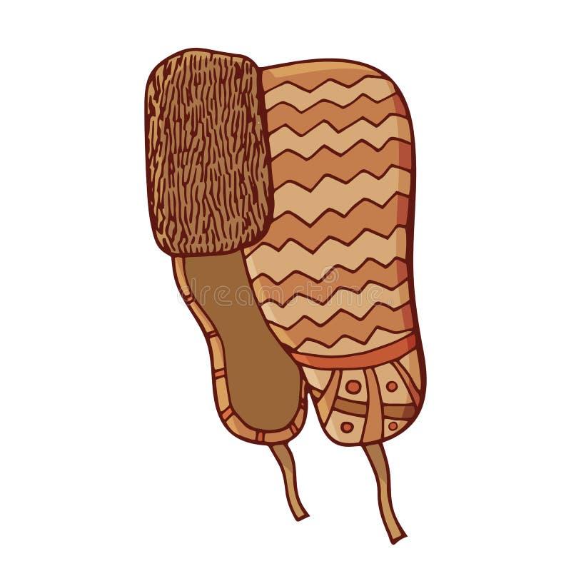 Tampão do inverno com orelha-aletas Doodle o estilo ilustração do vetor