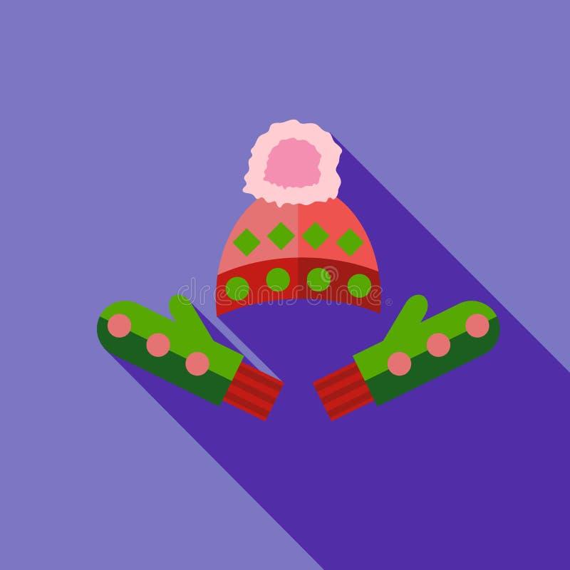 Tampão do inverno e ícone dos mitenes, estilo liso ilustração royalty free