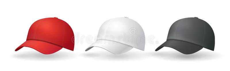 Tampão do uniforme dos moldes dos chapéus de basebol ilustração royalty free