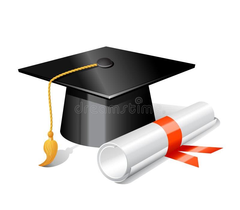 Tampão e diploma da graduação ilustração royalty free