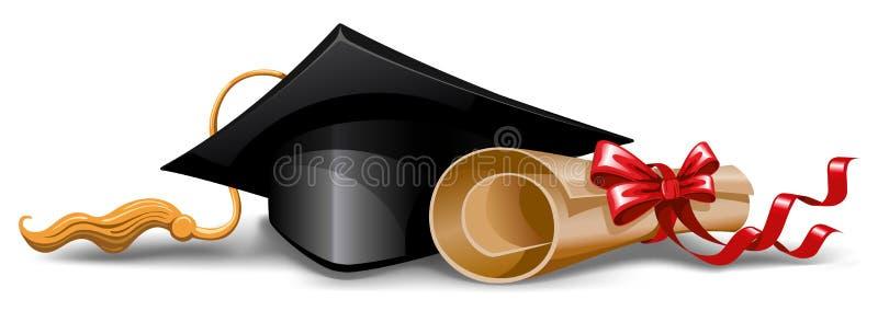 Tampão e diploma da graduação ilustração stock