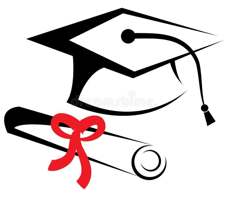 Tampão e diploma da graduação ilustração do vetor