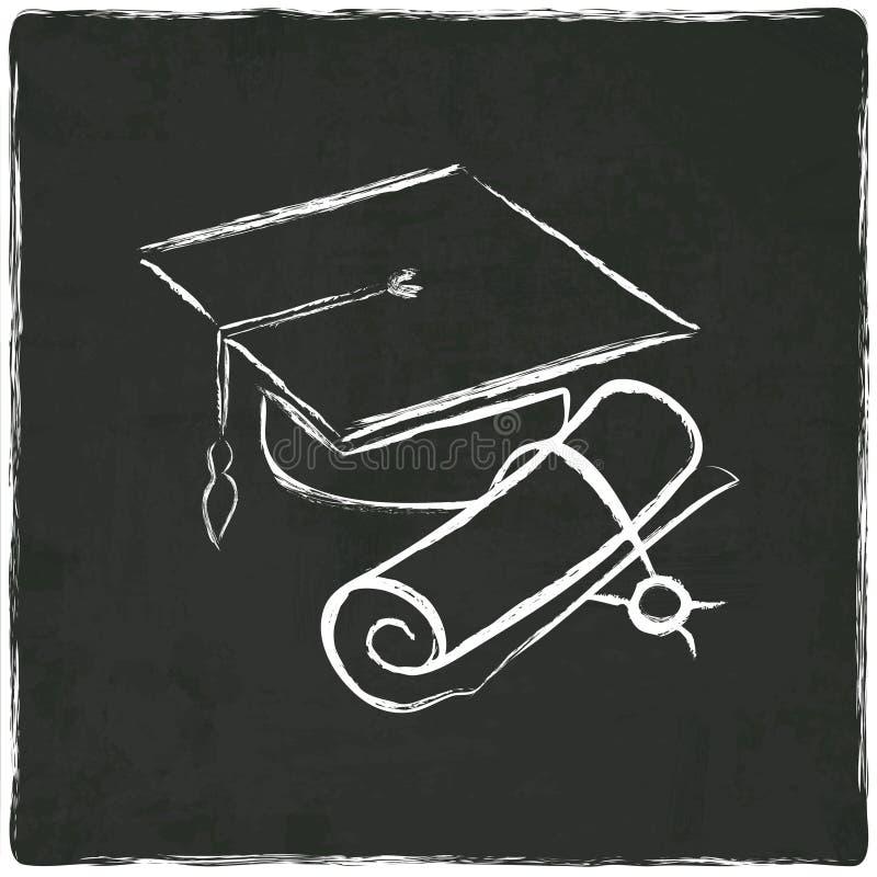 Tampão e diploma da graduação no fundo velho ilustração stock