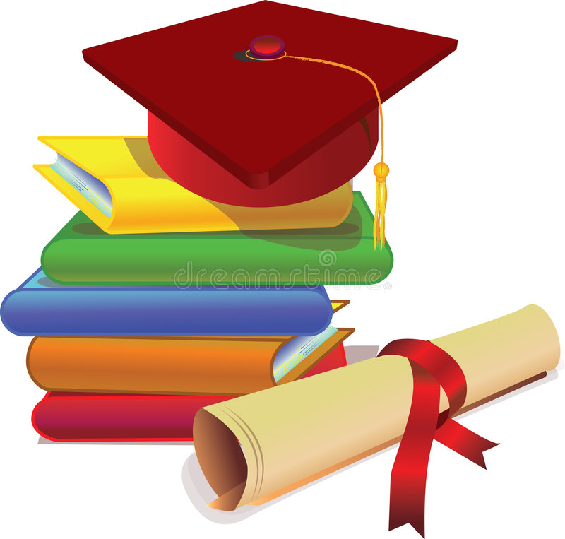 Tampão e grau da graduação ilustração royalty free